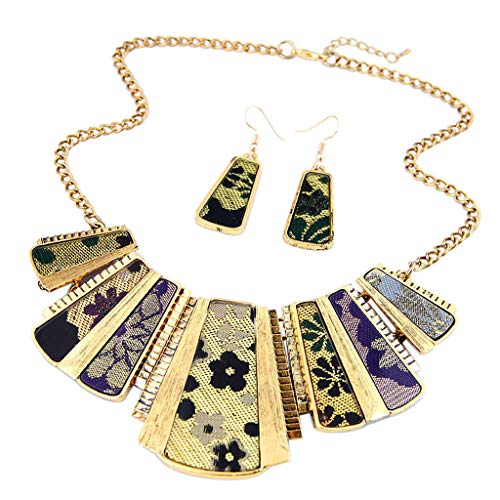 Womens Necklace+Earrings Set, Mixed Style Bohemia Chain Necklace Drop Earrings Jewelry for Women Girls Party Bohemia Dress Accessory (gold) ()