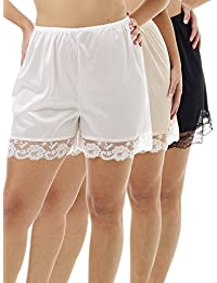 Pettipants Nylon Culotte Slip Bloomers Split Skirt 4-inch Inseam 3-Pack