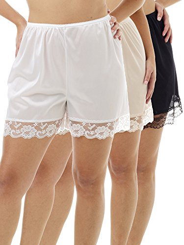 Nylon Bloomers (Underworks Pettipants Nylon Culotte Slip Bloomers Split Skirt 4-inch Inseam 3-Pack Small-White-Beige-Black)