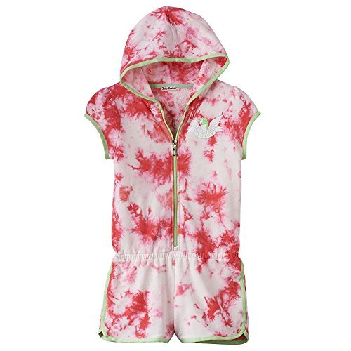 Juicy Couture Romper Cover up Tye Dye Girls Small (7-8) Bright Pink