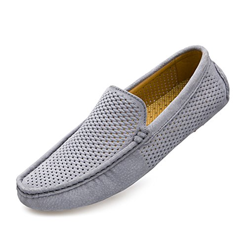 UNN Mens Loafers Casual Boat Shoes Fashion Genuine Leather Slip On Driving Shoes Moccasins Hollow Out Breathable Flats (8, Grey) - Genuine Loafers