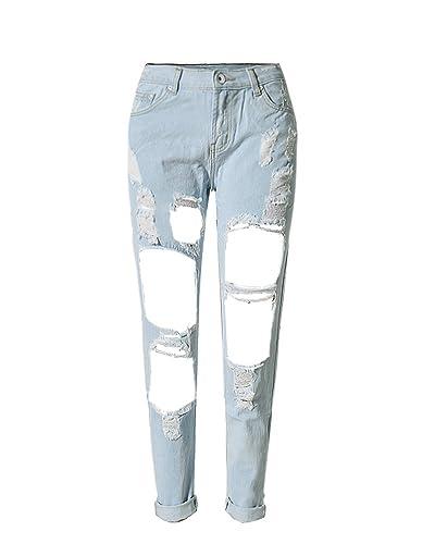 SaiDeng Para Mujer Extremos Comprimidos Pantalones Vaquero Azul Oscuro Pantalones Casuales Club Wear Zarco 30