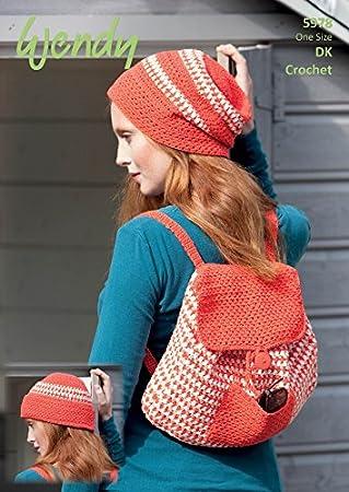 Wendy Damen Mütze & Rucksack Tasche Häkelmuster 5978 DK: Amazon.de ...