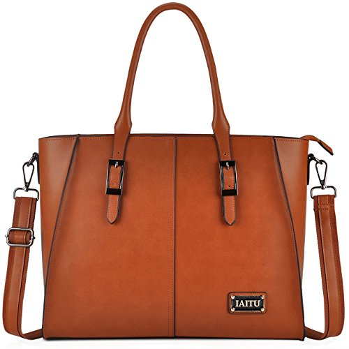 IAITU Laptop Tote Bag,15.6 inch Crossbody Laptop Bag Casual Work Business Handbag with Smooth Zipper for Women(Brown)