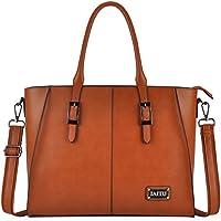 IAITU Laptop Tote Bag,15.6 Inch Crossbody Laptop Bag Casual Work Business Handbag with Smooth Zipper for Women(Brown)