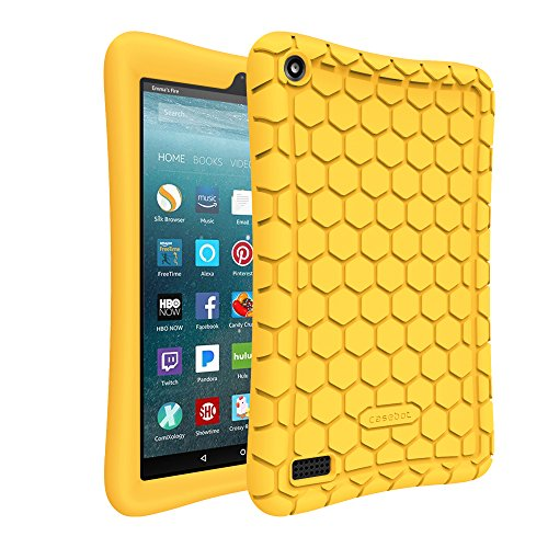 Fintie Silicone Case for All-New Amazon Fire 7 Tablet (7th Generation, 2017 Release) - [Honey Comb Upgraded Version] [Kids Friendly] Light Weight [Anti Slip] Shock Proof Protective Cover, Yellow