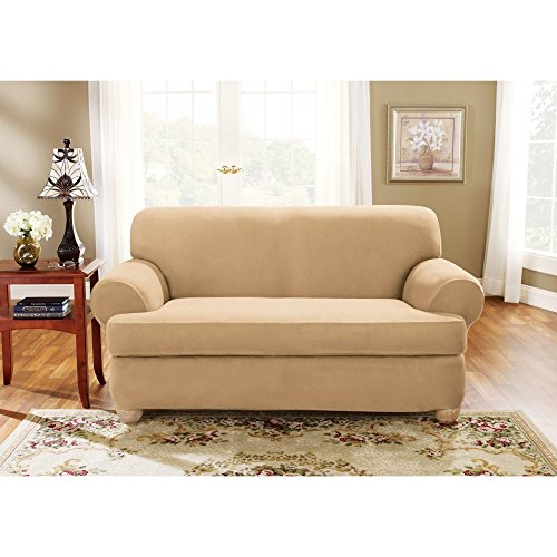(Sure Fit Stretch Suede T-Cushion Two Piece Sofa Slipcover,Camel)