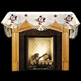 Cheap Embroidered Christmas Snowman and Packages on Ivory Fireplace Mantel Scarf 19″ x 90″