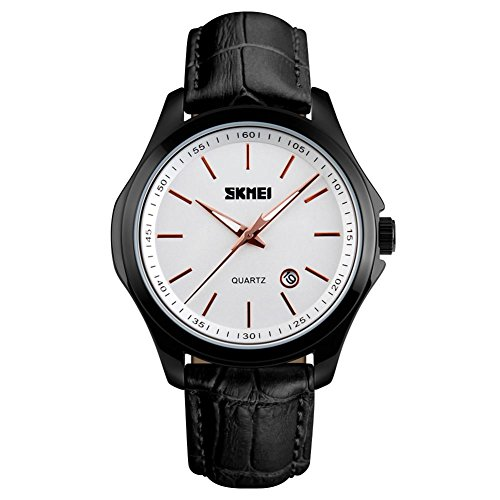 Black Mens Analog Quartz Waterproof Business Wrist Watch with Black Border and Strap, Simple Watch with White Dial and Black Leather Band