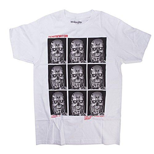 Terminator The T-800 Headshot Repeat Adult T-Shirt (X-Large) White