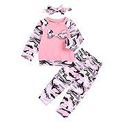 AILOM 3Pcs Newborn Baby Boy Girls Long Sleeve Camouflage Bowknot T-Shirt Top+Pants+Headband Family Clothes (Pink, 0-6month)