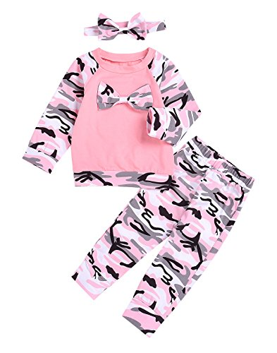 AILOM 3Pcs Newborn Baby Boy Girls Long Sleeve Camouflage Bowknot T-Shirt Top+Pants+Headband Family Clothes (Pink, 6-12month)