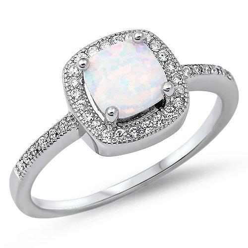 Princess Cut Lab Created White Opal & Cz Fashion .925 Sterling Silver Ring Sizes 3-13