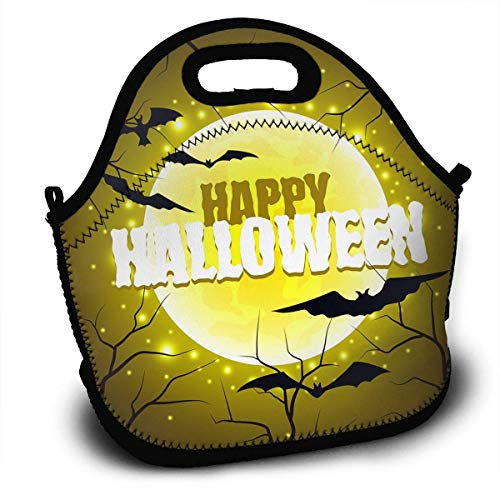 Insulated Neoprene Lunch Bag Removable Shoulder Strap Reusable Thermal Lunch Tote Bag For Adults,Teens,Boys,Girls,Kids,Baby-Lunch Boxes For Outdoor,Office,School - Happy Halloween Sign On Moon