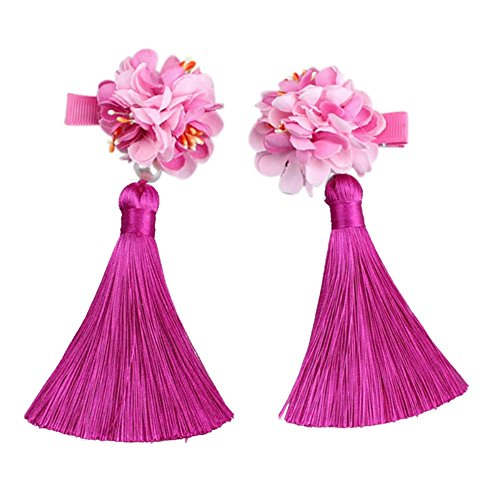 Tracfy Baby Girls Hair Accessories Chinese Ribbon Girls Headpiece Hairpins Tassel Hair Clips Princess Mini Headdress -