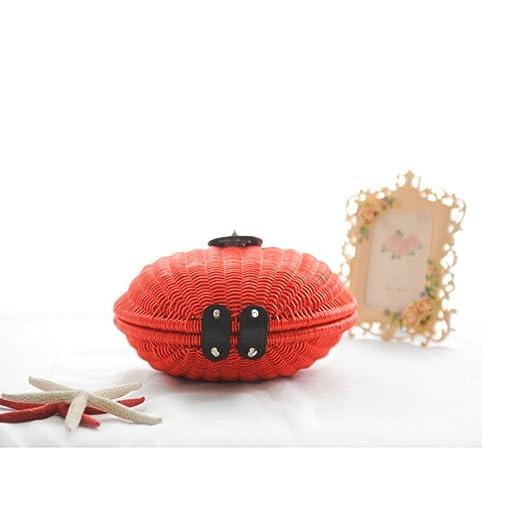 ceac505aab FAIRYSAN Sac à main pour femme Rouge Dame Amour Forme Paquet de paille  Paquet de rotin Design Main en cuir Sac de plage Paquet de photo Cadeau Sac  à ...
