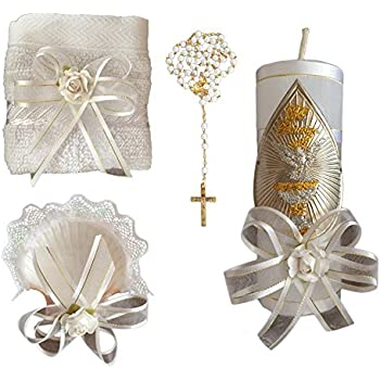 Kit de Bautismo - Baptism Christening Kit Catholic Handmade with Towel Rosary Baptism Candle and Baptism Shell - Hecho a Mano en Mexico Toalla, ...