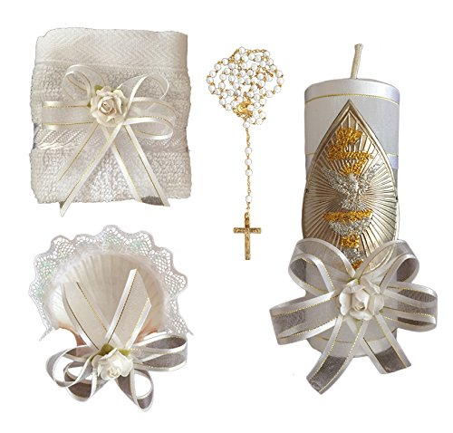 Kit de Bautismo - Baptism Christening Kit Catholic Handmade with Towel Rosary Baptism Candle and Baptism Shell - Hecho a Mano en Mexico Toalla, Concha y Rosario - San Rafael Arcangel - Baptism Favor