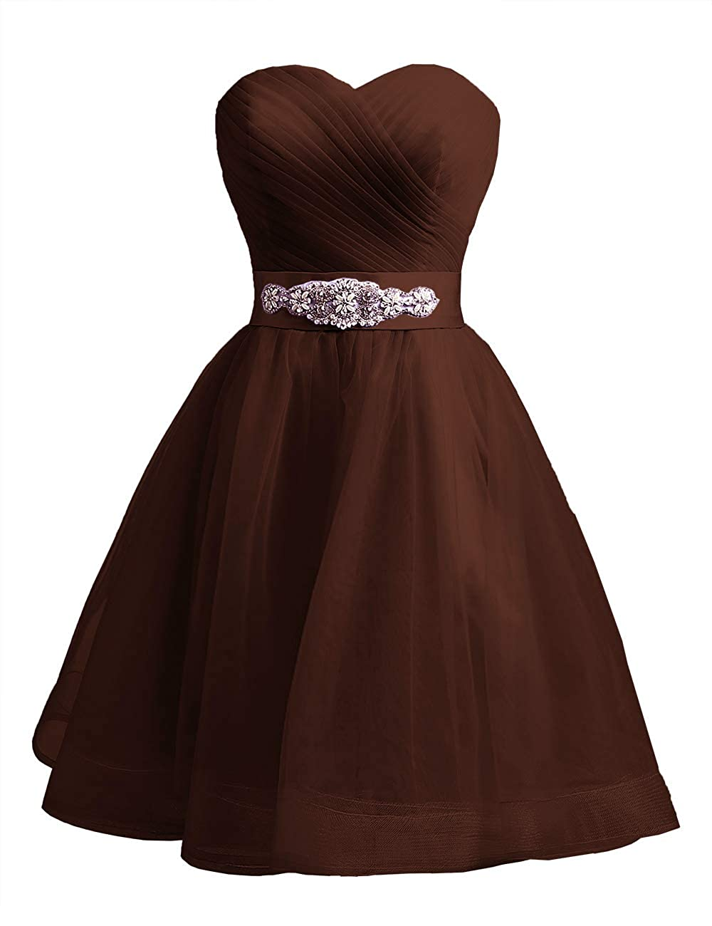 Chocolate Uther Sweetheart Beaded ALine Homecoming Dress Short Cocktail Dress Tulle Porm Gown