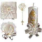 Kit de Bautismo - Baptism Christening Kit Catholic Handmade with Towel Rosary Baptism Candle and Baptism