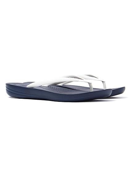 design de qualité cc12f 5bf13 FitFlop Femme iQUSHION Ergonomique Flip Flops - Marine/Blanc ...