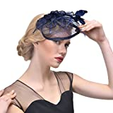 FeiYu Sinamay Fascinator for Races,Weddings,Derby,Royal Ascot and Melbourne Cup (Navy)