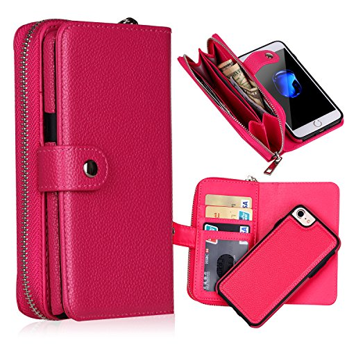 iPhone 8 Case,iPhone 7 Case Rose Red Zipper Handbag Purse Case with Hand Wrist Strap,Gostyle Premium Flip [Large Capacity] Magnetic Detachable Leather Wallet Shell with Credit Card Holder ()