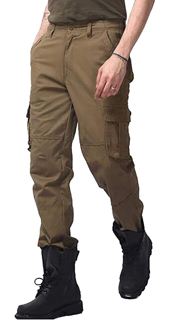 XQS Mens High Waist Casual Relaxed Fit Cargo Pant Big Tall Sizes Pants