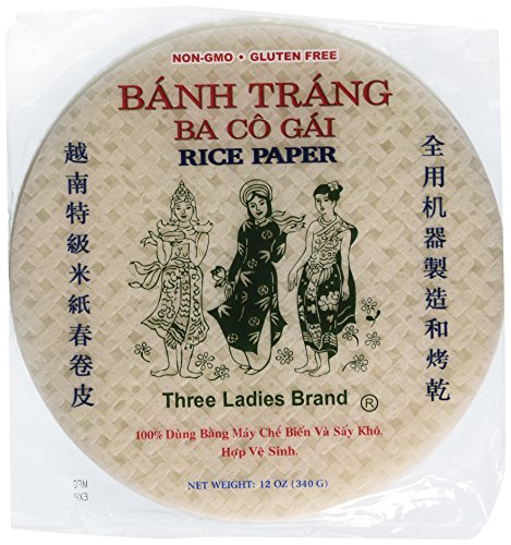 (Three Ladies Spring Roll Rice Paper Wrappers (Round 22cm 3pks))
