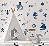 perfect octopus wall decals Ocean Sea Life Wall Decal, Octopus, Sailboat, Fish Sticker for Nursery Sea World Theme Decoration,Cute Nautical Decor