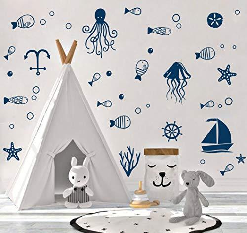 Ocean Sea Life Wall Decal, Octopus, Sailboat, Fish Sticker for Nursery Sea World Theme Decoration,Cute Nautical Decor
