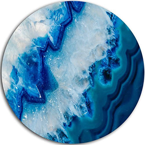 Designart MT8834-C38 ''Geode Slice Macro Abstract Digital Art Round'' Metal Wall Art, 38'' x 38'', Blue/White by Design Art
