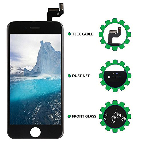 Screen Replacement LCD Display for iPhone 6s LCD Touch Screen Digitizer Replacement Full Assembly with Repair Tool Kit White Black (Black, IPhone 6s) by i DIY (Image #2)
