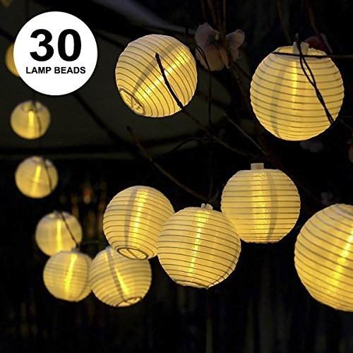 ProGreen Solar String Lights Lanterns, 6.5m/21.3fts 30 LED Waterproof Outdoor Solar Lights Garden Chinese Lantern, String Lights Fairy Lights Ball Globe Lights with Fabric Lantern for Party Garden Yard Home Decoration