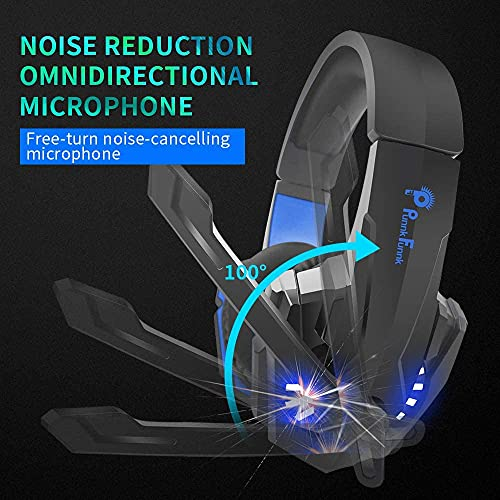 PunnkFunnk Gaming Headset with Microphone, Noise Cancelling Headphones with Microphone, LED Light Headset with Mic, PS4 Headset with 7.1 Surround Sound, Xbox Headset (K20)