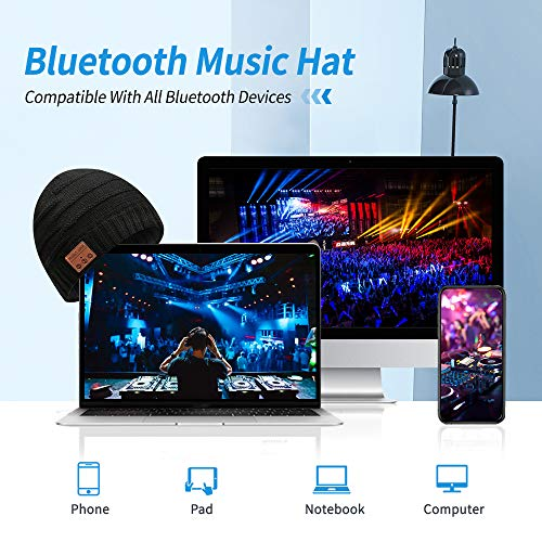 Bluetooth Beanie Bluetooth 5.0 Wireless Headset Music Winter Beanie Hat Build in 2 HD Stereo Speakers and Mic, Christmas…