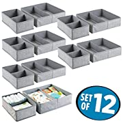 mDesign Fabric Baby Nursery Organizer for Clothing, Towels, Diapers, Lotion, Wipes - Set of 12, Gray