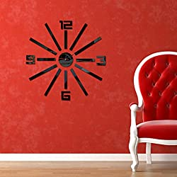 Fheaven Fashion DIY Acrylic Large Number Mirror Art Clock Wall Sticker Big Watch Home Decor (B)