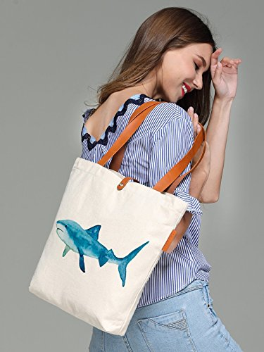 So'each Women's Shark Water Color Graphic Top Handle Canvas Tote Shoulder Bag