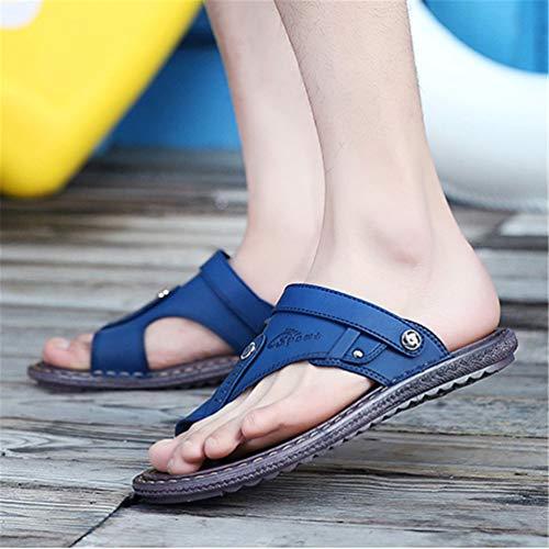 Casual Uomo Pelle Traspirante Pantofole in Estate Spiaggia Sandali Blu Antiscivolo Scarpe TrT0t