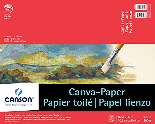 Canson Foundation Series Canva-Paper Pad Primed for Oil or Acrylic Paints, Top Bound, 136 Pound, 16 x 20 Inch, 10 Sheets ()