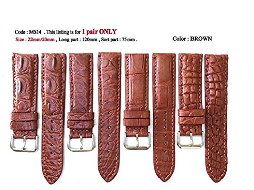- 22mm Genuine CROCODILE/ALLIGATOR Skin Leather Watch Strap Band for men Handmade (BROWN Leather/BROWN Stitching) #5