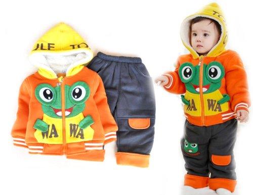 SOPO Baby Girls Boys Outwear Winter Set (Cute Frog Hood Coat, Pants) Orange (2t)
