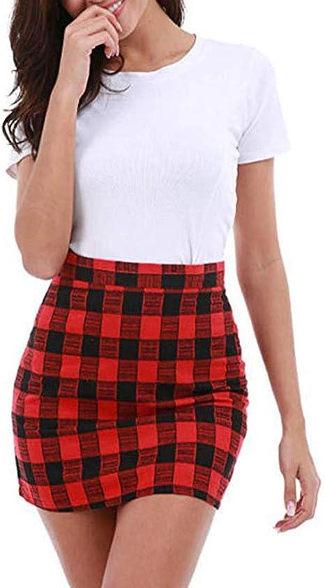 Sylar Faldas Mujer Cortas Verano Mini Falda Casual con Estampado ...