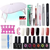 Coscelia Gel Nail Polish Starter Kit - with Top Coat Baset Nail Dryer Lamp 6 Colors Nail Art Design Tools, Portable DIY Home Gel Manicure