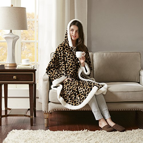 "Comfort Spaces Glimmersoft Plush to Sherpa Pocket Hooded Angel Wrap Ultra Soft Wearable Poncho Blanket Throw, 58""x72"", Leopard,CS58-0312"