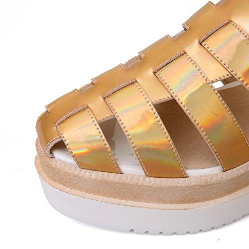 MJS03007 1TO9 Sandals Out Sandals Womens Platforms Hollow Urethane Platforms Gold wU8fZ