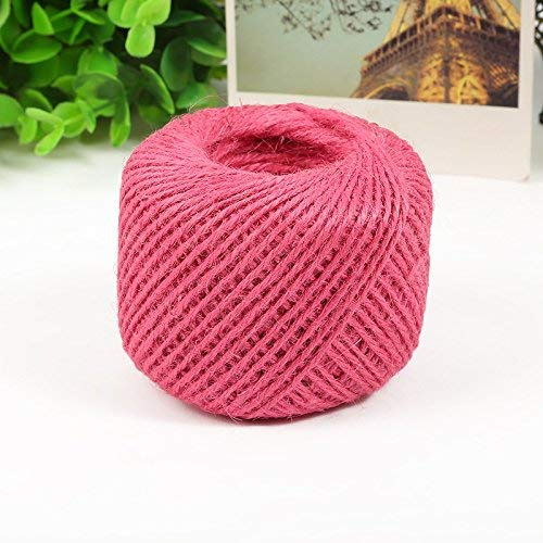 50 Meters Colourful Hemp Natural Jute Twine Hessian String Cord 2mm (Pink) (Cord Pink Hemp)