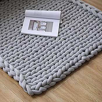 Zituop 40 x 47 inch Washable Chunky Knit Blanket, Extreme Knitting Blanket Giant Knit Throw Blanket Super Chunky Knitted Throws Pet-Friendly, Light Grey