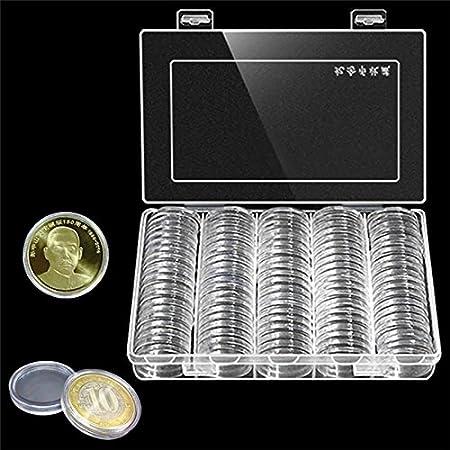 100pcs 30 mm Ronda moneda Caso plástico caja de colección de monedas moneda pantalla funda organizador contenedor: Amazon.es: Hogar